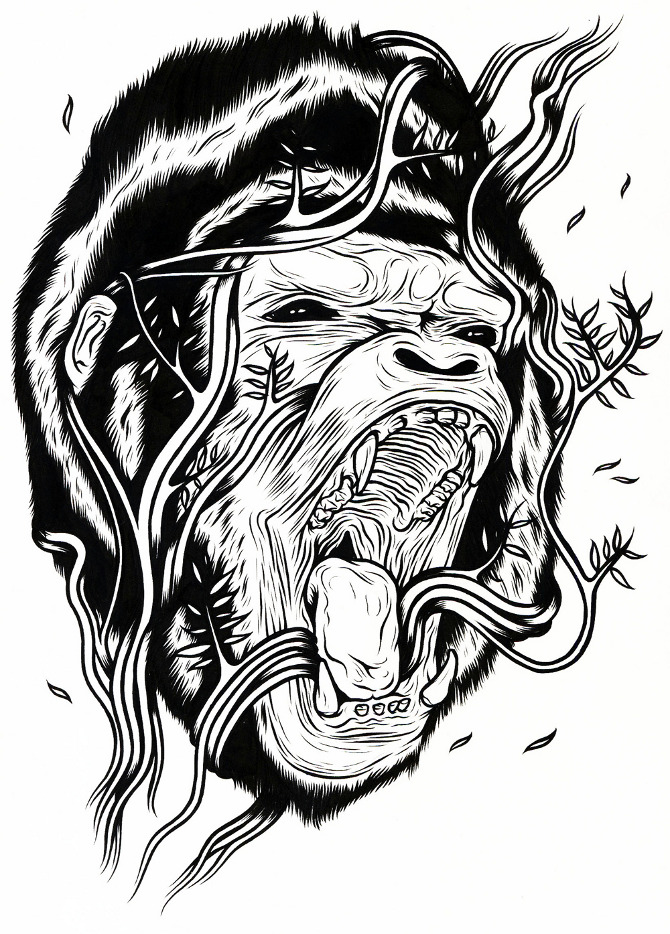 Evil Gorilla Drawing